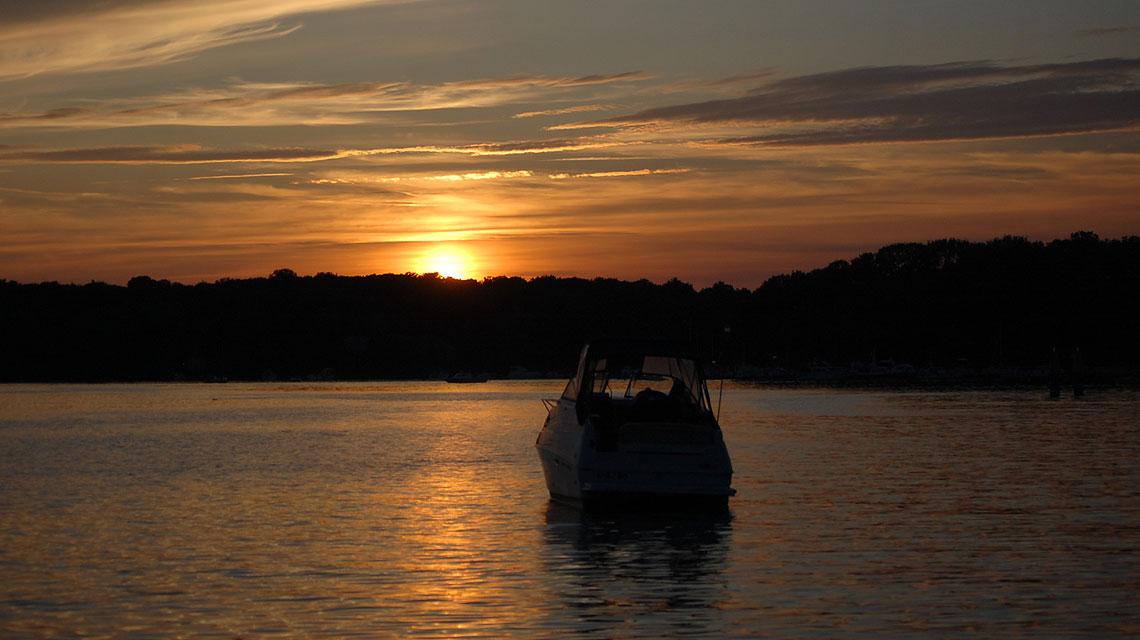 Sonnenuntergang-Tegel